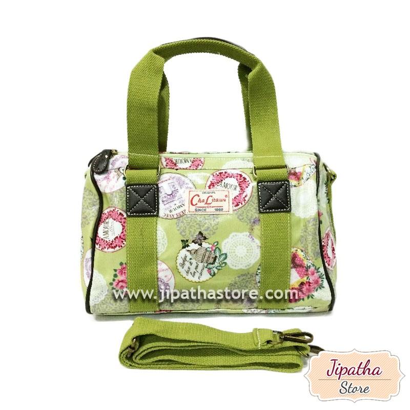 กระเป๋าทรงหมอน Chalita wu + สายสะพาย สีเขียว ลายดอกไม้
