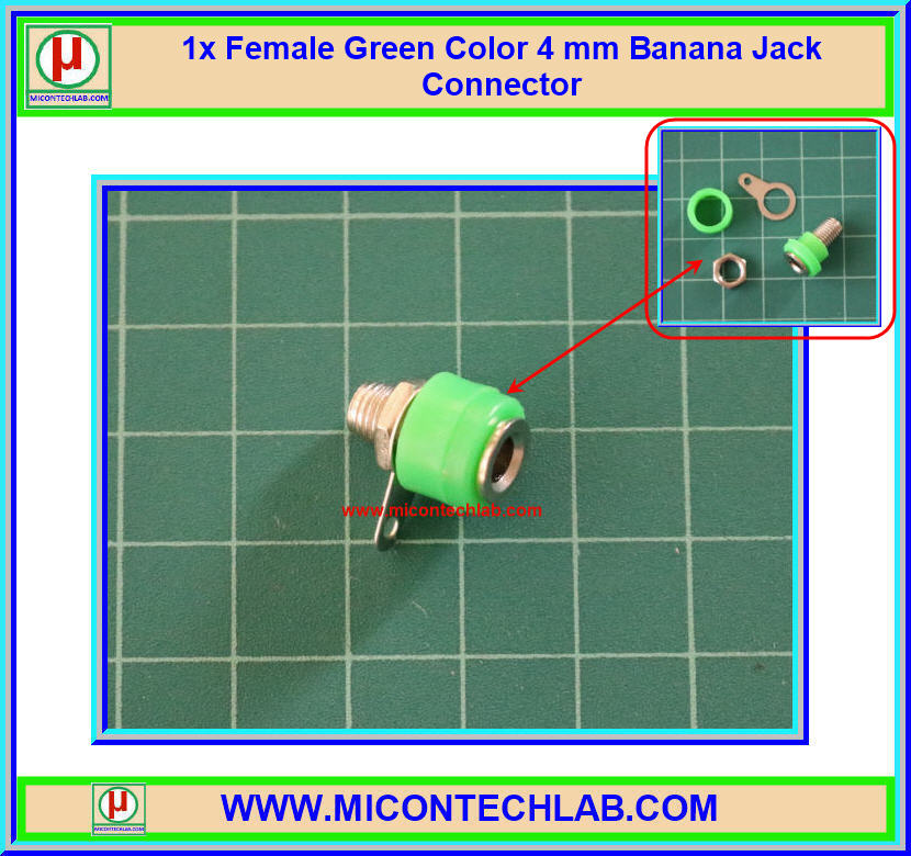 1x Female Green Color 4 mm Banana Jack Connector