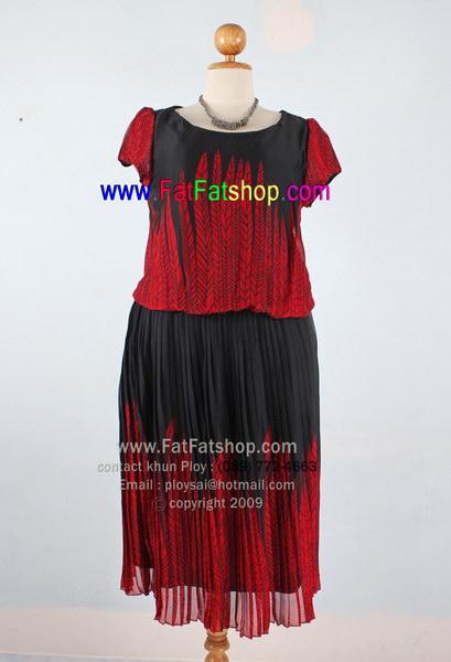 f002-42-44- ชุดกระโปรงคนอ้วนXL ผ้าซีฟองสีดำพิมพ์ลายเชิงลายแดง ช่วงกระโปรงอัดพลีท ซับในทั้งตัว สวยๆใส่สบายๆ รอบอก 42 นิ้ว