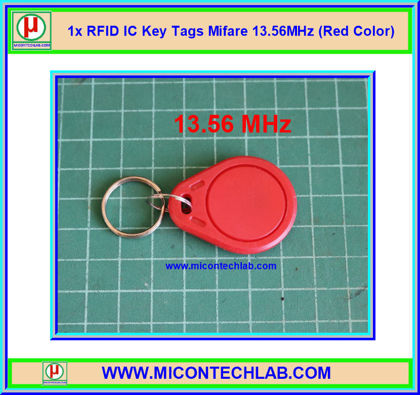 1x RFID IC Key Tags Mifare 13.56MHz (Red Color)