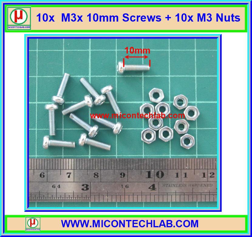 10x M3* 10mm Screws + 10x M3 Nuts (สกรูหัวกลม+น็อตตัวเมีย ขนาด 3มม ยาว 10มม)