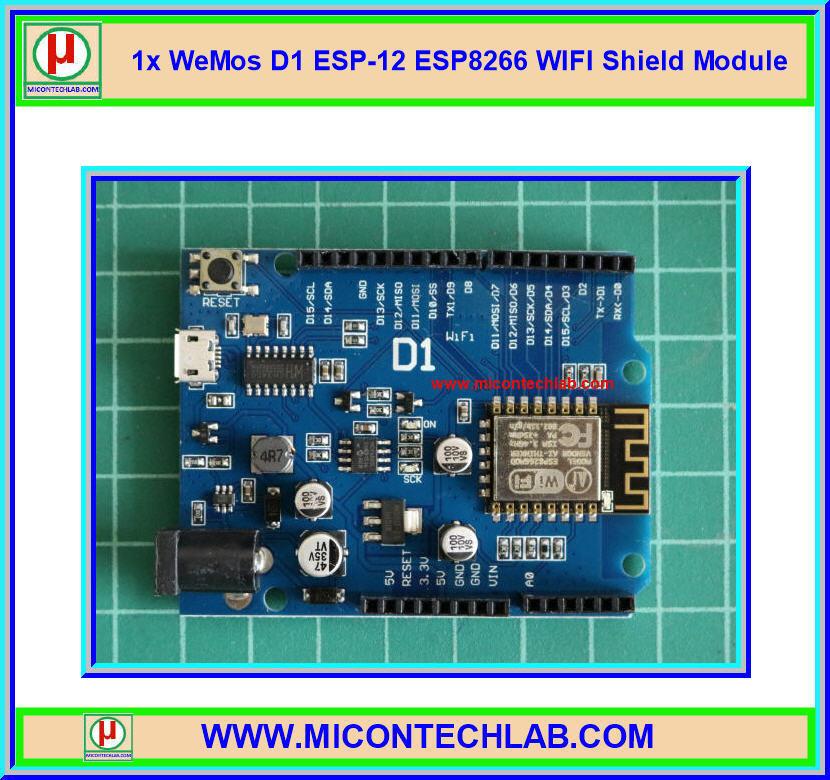 1x WeMos D1 ESP-12 ESP8266 WIFI Shield Module for IOT
