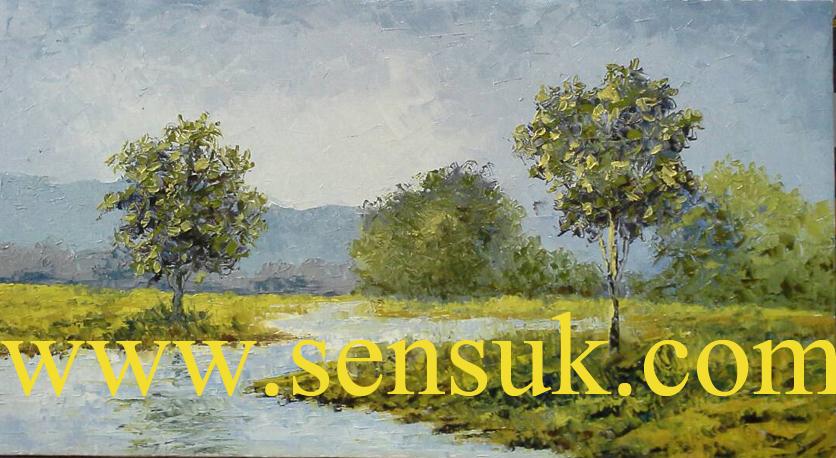 ภาพวิวธรรมชาติ(ปาดสีสวยงาม.เทคนิคสีน้ำมัน)ขายไปแล้วสั่งวาดได้