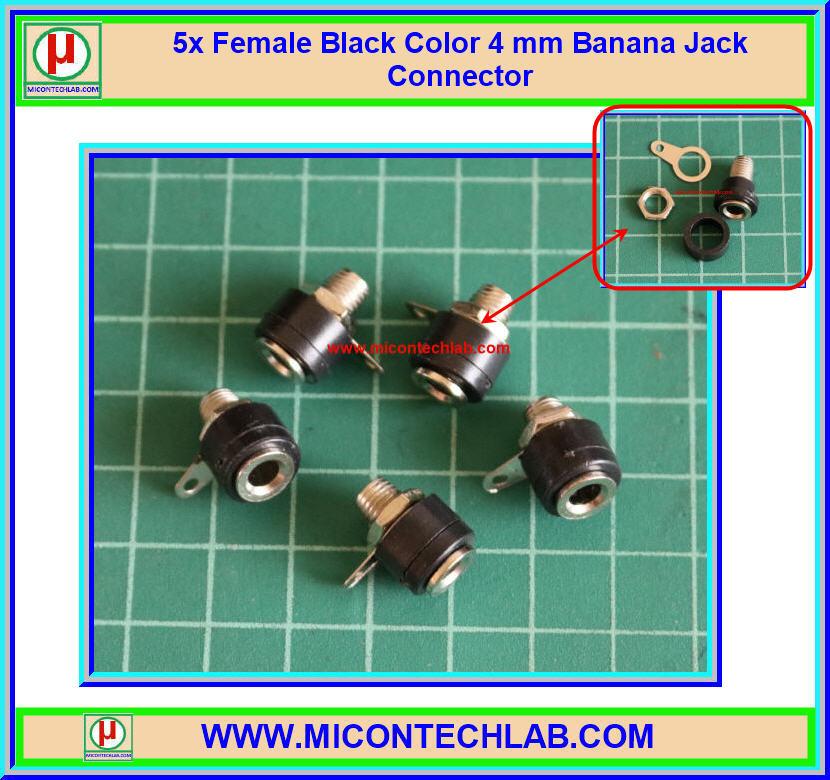 5x Female Black Color 4 mm Banana Jack Connector
