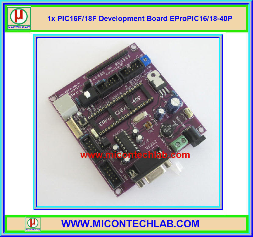 1x PIC16F/18F Development Board EProPIC16/18-40P