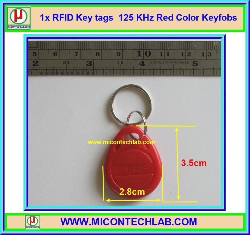 1x RFID Keytags 125 KHz Key tag Keyfobs Red Color (อาร์เอฟไอดีคีย์แทกสีแดง)