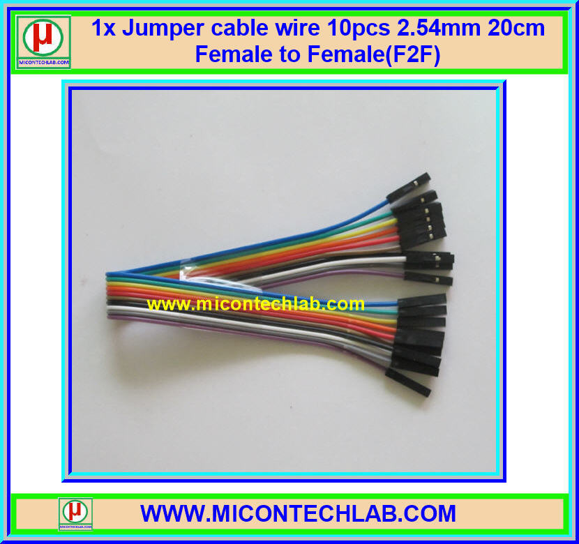 1x Jumper (F2F) cable wire 10pcs 2.54mm 20cm Female to Female