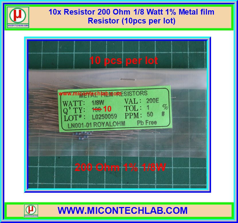 10x Resistor 200 Ohm 1/8 Watt 1% Metal film Resistor (10pcs per lot)
