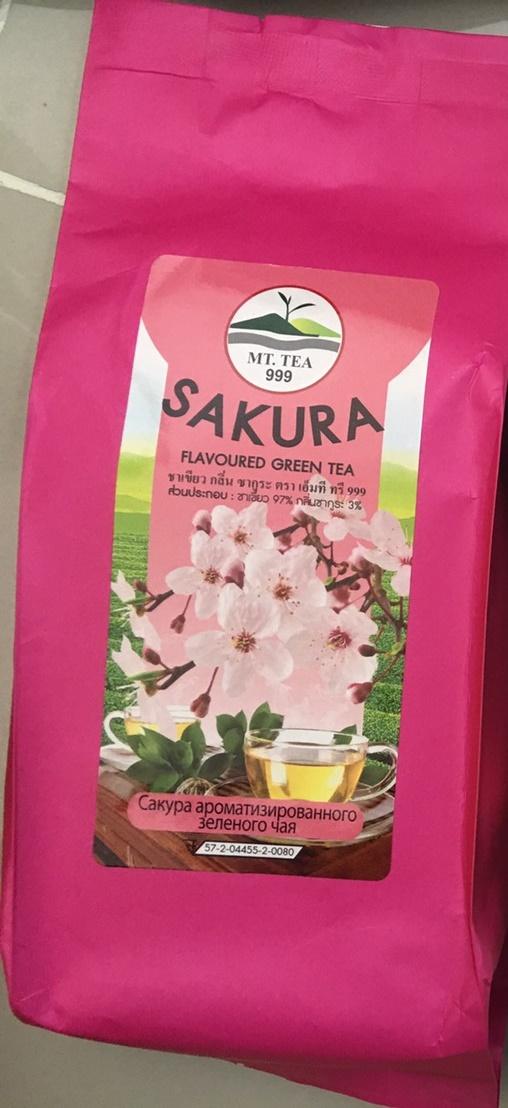 Sakura Flavoured Green Tea ชาเขียวซากุระ (ชาเขียว97%กลิ่นนม3%)