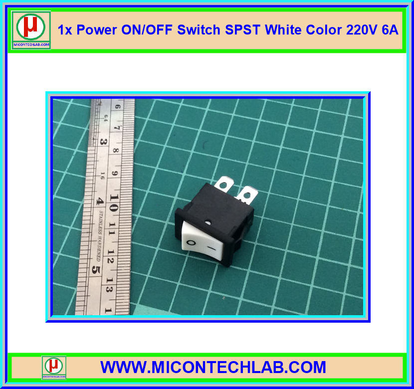1x Power ON/OFF Switch SPST White Color 220V 6A