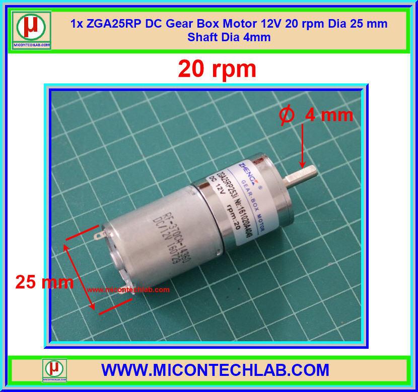 1x ZGA25RP DC Gear Box Motor 12V 20 rpm Dia 25 mm Shaft Dia 4mm
