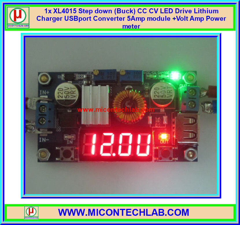 1x XL4015 Step down (Buck) CC CV LED Drive Lithium Charger USBport Converter 5Amp module +Volt Amp Power meter+Heatsink + Pillars