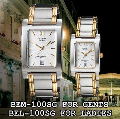 นาฬิกา CASIO นาฬิกาคู่ เรือนเงิน 2 กษัตริย์ รุ่น BEM-100SG-7A กับ BEL-100SG-7A ประกันศูนย์ 1 ปีเต็ม