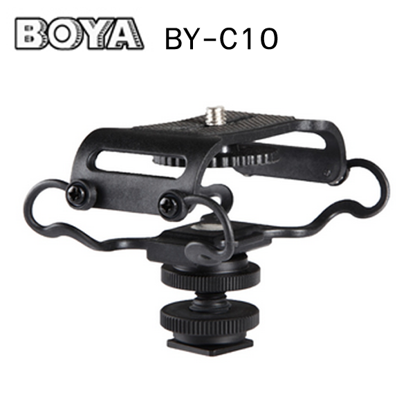 "BOYA BY C10 Universal Camera Microphone Shockmount with 1/4"" Mounting Thread - Fits the Zoom H4n, H5, H6, Tascam DR-40, DR-05, DR-07 & Similar Recorders"