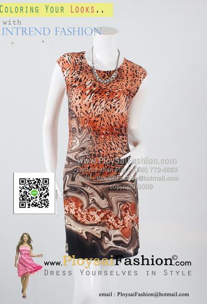 pd2628 - เดรสสั้นแขนล้ำ ผ้าเกาหลีพิมพ์ลายเสือโทนน้ำตาลส้ม ซับในแยกชิ้น สวยน่ารักค่ะ