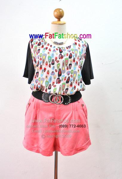 fa005-52-ชุดคนอ้วน Mix & Match เสื้อผ้าซีฟองพิมพ์ลายสดใส กางเกงผ้าลินินสีชมพู สวยน่ารักเข้าชุดกันดูดีสุดๆเลยค่ะ รอบอก 52 นิ้ว