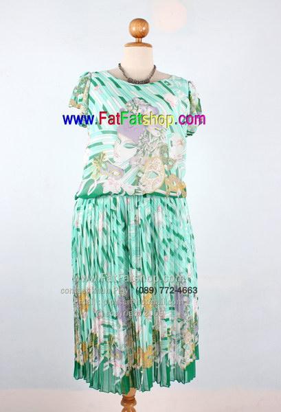 f003-42-44- ชุดกระโปรงคนอ้วนXL ผ้าซีฟองพิมพ์ลายโทนเขียว ช่วงกระโปรงอัดพลีท ซับในทั้งตัว สวยๆใส่สบายๆ รอบอก 44 นิ้ว