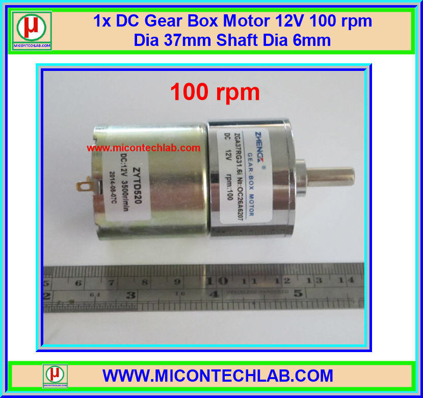 1x DC Gear Box Motor 12V 100 rpm Dia 37mm Shaft Dia 6mm