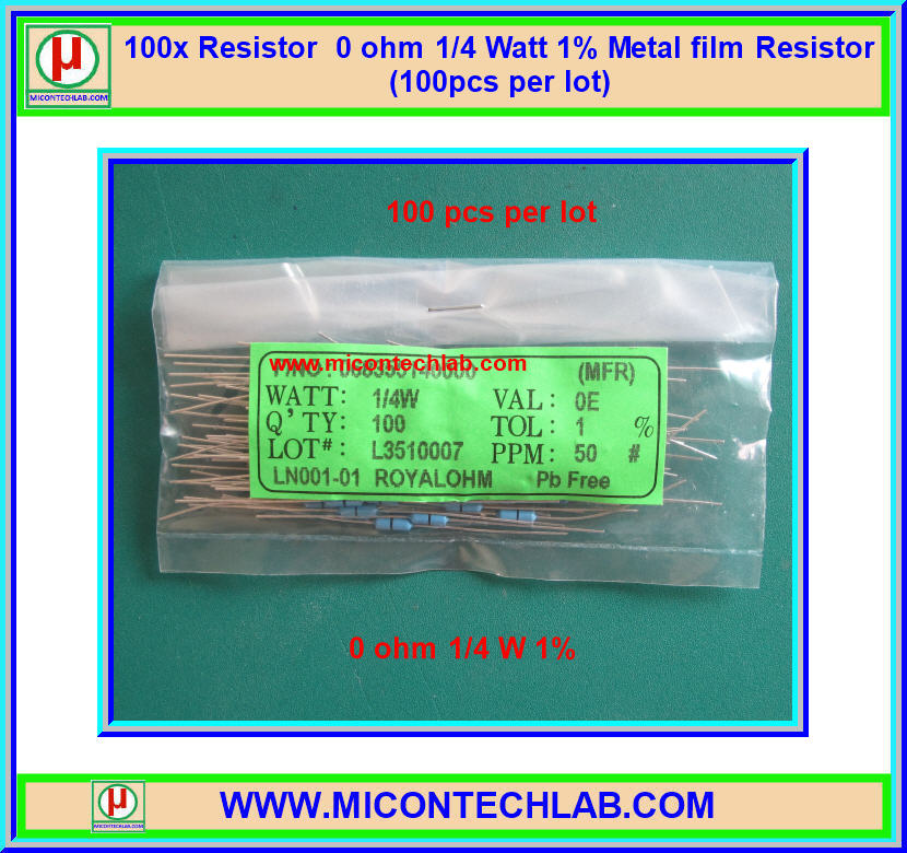 100x Resistor 0 ohm 1/4 Watt 1% Metal film Resistor (100pcs per lot)