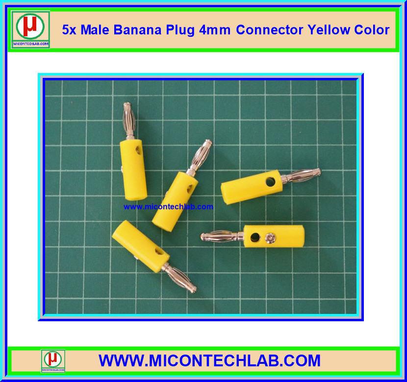 5x Male Banana Plug 4mm Connector Yellow Color