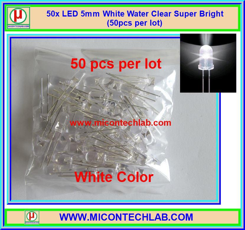 50x แอลอีดี ขนาด 5 มม. สีขาว แบบใส LED 5mm Super Bright
