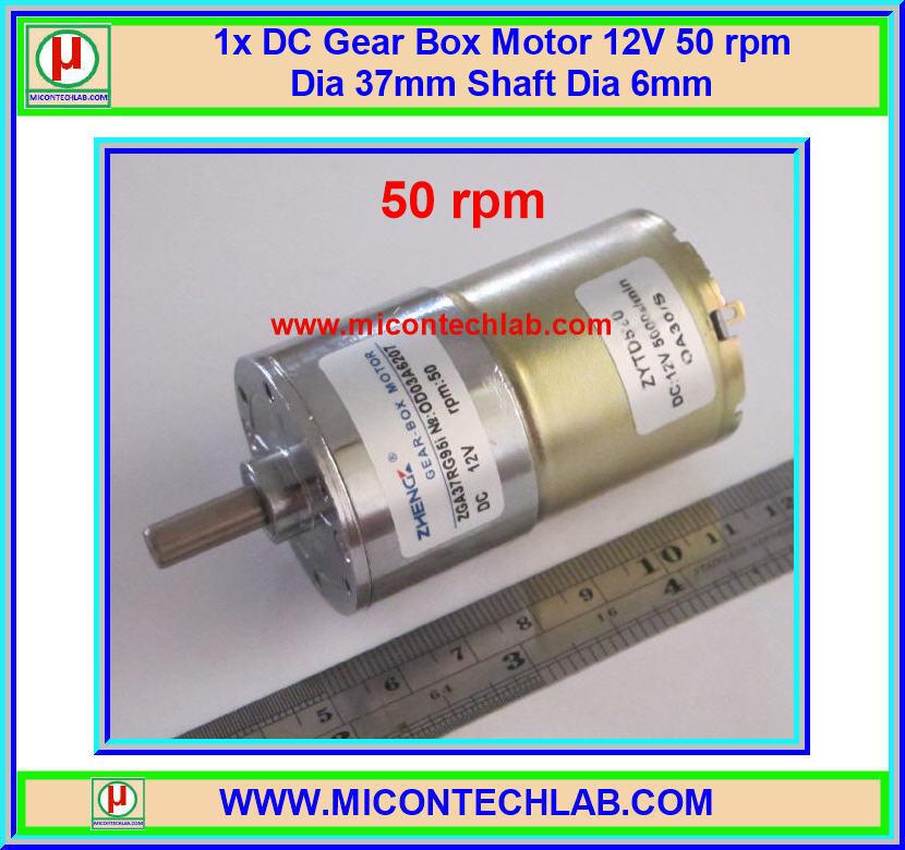 1x DC Gear Box Motor 12V 50 rpm Dia 37mm Shaft Dia 6mm