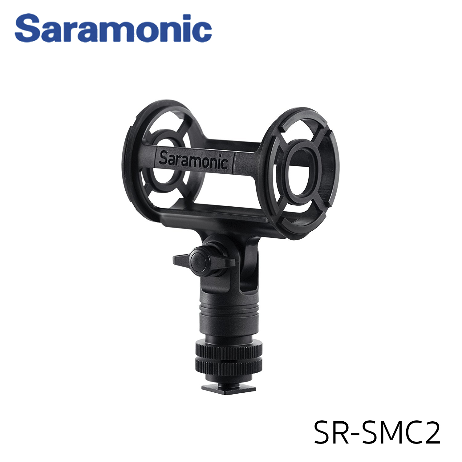 """Saramonic SR-SMC2 Shotgun Microphone Shockmount with Cold Shoe, 1/4"""", 3/8"""", & 5/8"""" Threads for Cameras, Tripods, Stands & Boom Poles"""