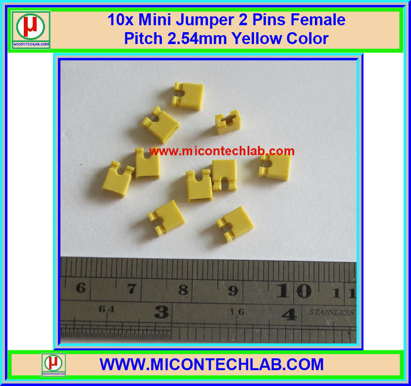 10x Mini Jumper 2 Pins Female Pitch 2.54mm Yellow Color