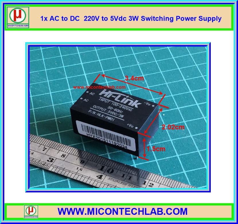 1x Switching Power Supply 220V to 5V 3W 600mA Hi-Link HLK-PM01 module