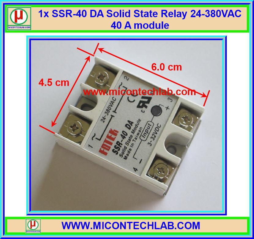 1x โซลิดสเตทรีเลย์ SSR-40 DA 24-380VAC 40A (Solid State Relay)