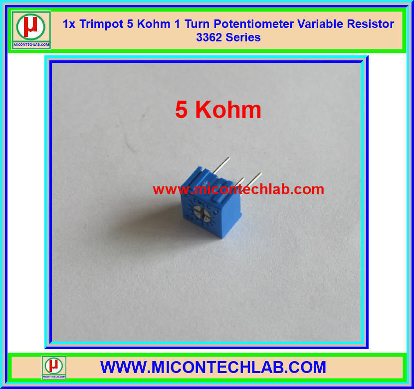1x Trimpot 5 KOhm 1 Turn Potentiometer Variable Resistor 3362 Series