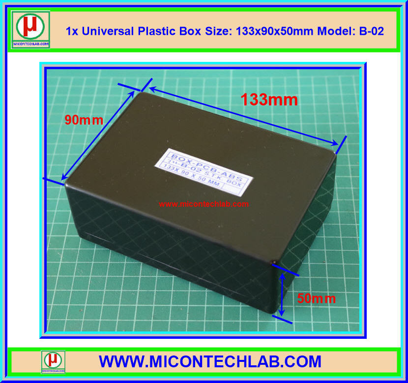 1x กล่องพลาสติก รุ่น B-02 สีดำ ขนาด 133x90x50 มม. (Box)