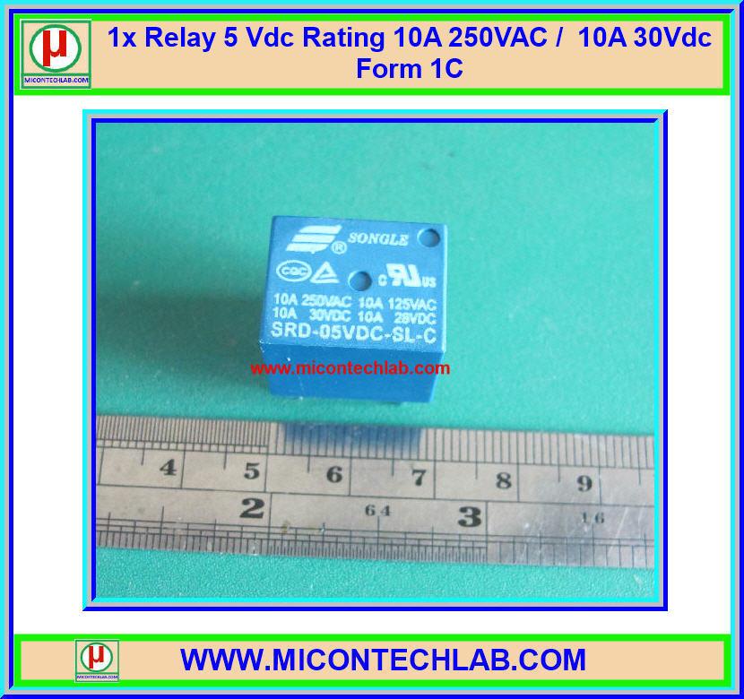 1x Relay 5 Vdc Rating 10A 250VAC / 10A 30Vdc Form 1C