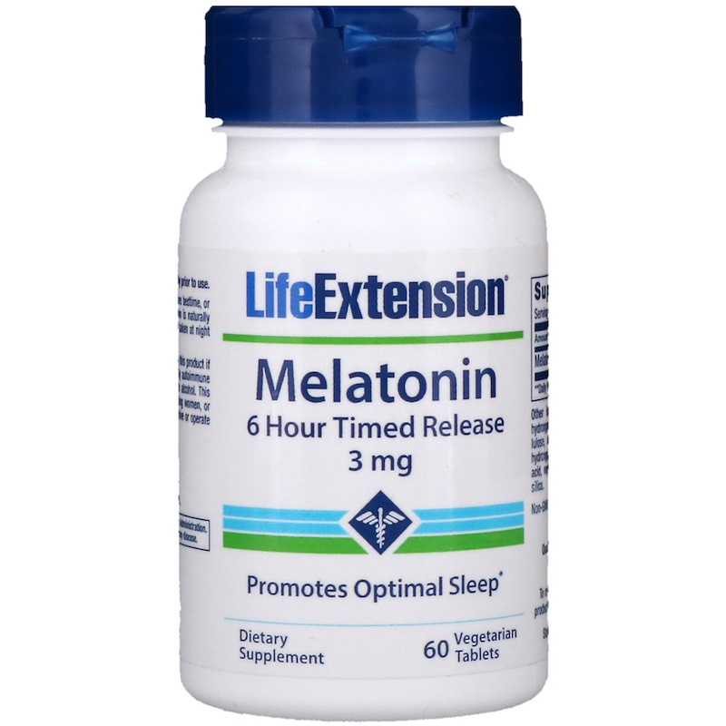Life Extension, Melatonin, 6 Hour Timed Release, 3 mg, 60 Veggie Tabs