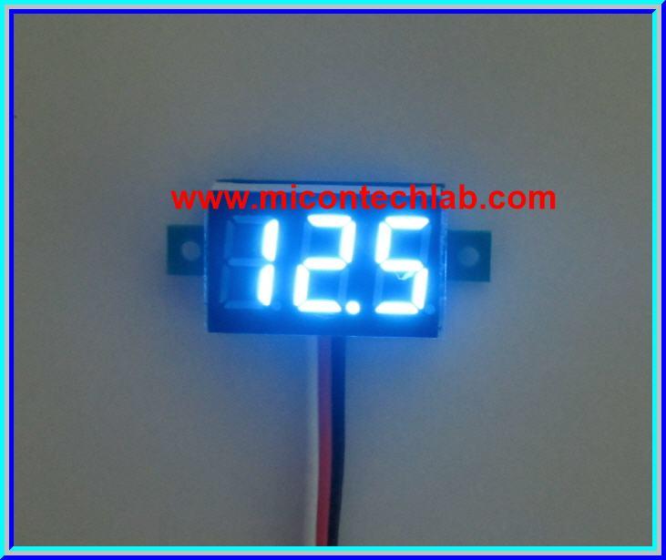 1x Mini Digital DC Voltmeter module 0-100 Vdc Blue LED 7's Segment