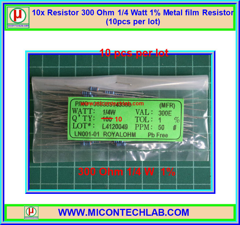 10x Resistor 300 Ohm 1/4 Watt 1% Metal film Resistor (10pcs per lot)