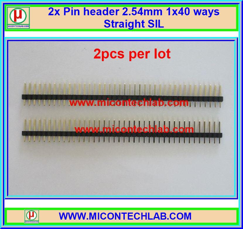 2x Pin header 2.54mm 1x40 ways Straight SIL (ก้างปลา ตัวผู้)