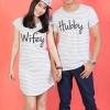 """เสื้อคู่ เสื้อคู่รัก ชุดคู่รัก เสื้อคู่รักเกาหลี เสื้อคู่แฟชั่น ลาย """"WIFEY&HUBBY"""" ADX012"""