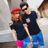 ชุดคู่รัก เสื้อคู่รักเกาหลี เสื้อผ้าแฟชั่น ชายเสื้อยืดสีดำมีกระเป๋าเสื้อสีรุ้ง + หญิงเสื้อยืดแขนสั้สีดำ แต่งแขนสีรุ้ง