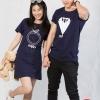 เสื้อคู่ เสื้อคู่รัก ชุดคู่รัก เสื้อคู่รักเกาหลี เสื้อคู่แฟชั่น ลาย แหวน WIFEY& สูทHUBBY ADX006