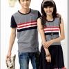 เสื้อคู่ เสื้อคู่รัก ชุดคู่รัก เสื้อคู่รักเกาหลี เสื้อผ้าแฟชั่น ผู้ชายเสื้อยืดคอกลมสีเทาลายขวาง แต่งอกสีแดงแทบขาว+ผู้หญิงเดรสแขนสั้นสีเทาลายขาว แต่งอกแทบขาวแดง ต่อใต้อกด้วยกระโปรงสีดำ