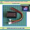 1x ดิจิตอลดีซีโวลต์แอมป์มิเตอร์ 0-100V 0-10A LED สีแดงน้ำเงิน(Digital DC Voltmeter Ammeter)