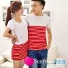 เสื้อคู่ เสื้อคู่รัก ชุดพรีเวดดิ้ง ชุดคู่รัก เสื้อคู่รักเกาหลี เสื้อผ้าแฟชั่น ผู้ชาย + ผู้หญิง เดรสแขนสั้นสีขาว ตัดกระโปรงสีแดง สีสดเหมาะสำหรับใส่เที่ยวทะเล เดินเล่นวันชิว ชิว ถ่ายพรีเวดดิ้ง