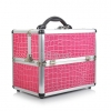 Professional Aluminium Makeup Cosmetic Box Vanity Case สีชมพู