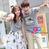 ชุดคู่ เสื้อคู่ เสื้อคู่รัก ชุดพรีเวดดิ้ง ชุดคู่รัก เสื้อคู่รักเกาหลี เสื้อผ้าแฟชั่น ผู้ชาย เป็นเสื้อคอกลม สีเทา สกรีนช่วงอกเป็นลายดอกไม้ ผู้หญิง เป็นเสื้อ+กระโปรงเอวยืด ลายดอกไม้ สวยหวานมากๆคะ