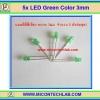 5x LED Green Color 3mm (แอลอีดีสีเขียว 3มม 5 ตัวต่อชุด)