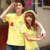 เสื้อคู่รัก ชุดคู่รัก เสื้อคู่ เสื้อยืดคู่รักผ้าฝ้าย สีเหลือง ลายการ์ตูนน่ารัก