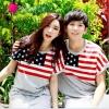 เสื้อคู่ เสื้อคู่รัก ชุดคู่รัก เดรสคู่รักเกาหลี เสื้อผ้าแฟชั่นคู่รัก ผู้ชาย-เสื้อยืด + ผู้หญิง-เดรสผ้ายืด สีเทาผ้ายืดนุ่ม ลายธงชาติเมกา สวยเดิ้ร์นค่ะ