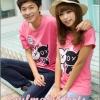เสื้อยืดคู่รัก ชุดคู่รัก เสื้อคู่ เสื้อคู่รักเกาหลี เสื้อยืดคู่รักผ้าฝ้าย ลายการ์ตูน สีชมพู