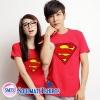 เสื้อคู่ เสื้อคู่รัก สีแดง ลาย ซุปเปอร์แมน ผลิตจากผ้าคอตตอน 100%